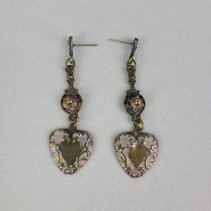 Vintage Metal Heart Rose Drop Earrings